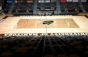 Photo of hardwood gym floor Titan Sport Systems repaired for the University of Manitoba