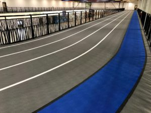 Photo of the Olympic performance track Titan Sport Systems installed for Strathmore Field House